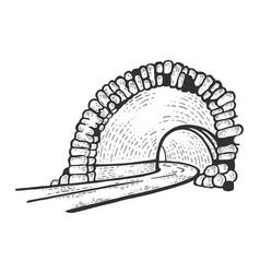 Mountain tunnel road sketch vector