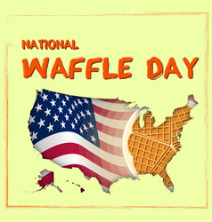 National waffle day in usa on august 24th round vector