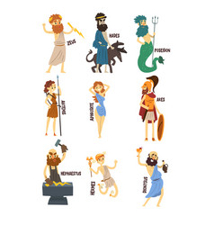 Olympian greek gods set dionysus hermes vector