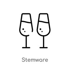 Outline stemware icon isolated black simple line vector