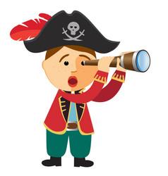 Pirate boy looking through a spyglass telescope vector