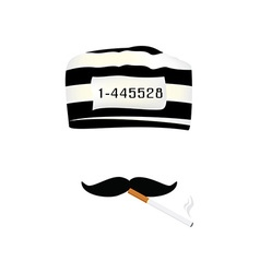 Prisoner cap mustache and cigarette vector image vector image
