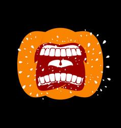 pumpkin screams open mouth for halloween pumpkin vector image