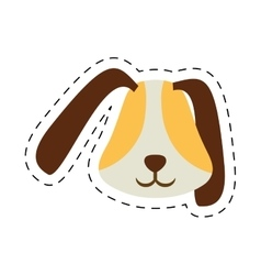puppy face ear long brown pet line dotted vector image