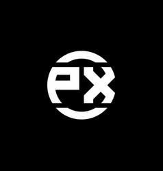 px logo monogram isolated on circle element vector image
