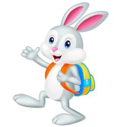 Rabbit cartoon with backpack vector