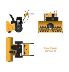 Realistic blueprint snow blower vector