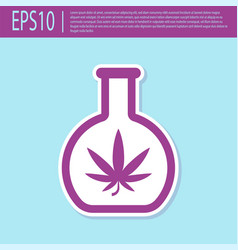 retro purple chemical test tube with marijuana or vector image