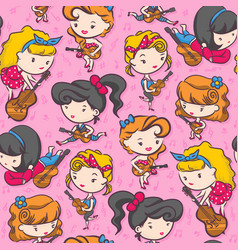 Rockabilly girl band playing guitar - pink color vector