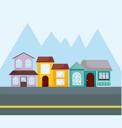 Row houses design vector