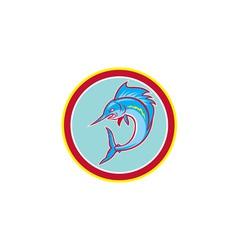 Sailfish Fish Jumping Circle Cartoon vector
