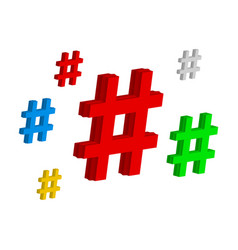 set color hashtag viral web network media tag vector image