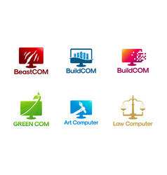 set computer logo designs vector image