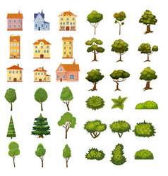 set of buildings bushes and trees of landscape vector image