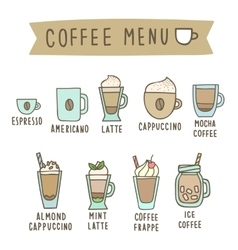 Set of different coffee style drinks vector image