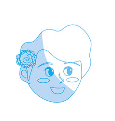 Silhouette avatar happy woman face with hairstyle vector
