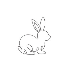 Single continuous line drawing funny rabbit vector
