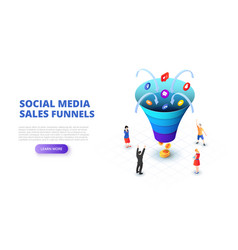 social media sales funnel design concept with vector image