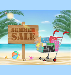 summer sale wood board and shopping cart vector image