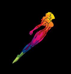 Superhero flying action cartoon woman vector