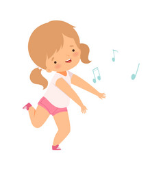 Sweet girl singing and dancing lovely kid having vector