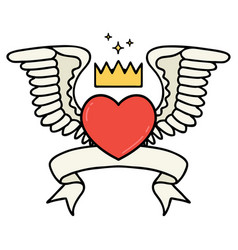 Tattoo with banner a heart with wings vector