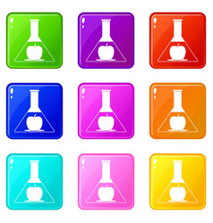Test flask with apple icons 9 set vector