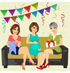 three attractive women on a baby shower party vector image