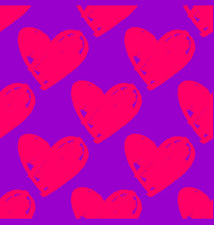 Tile pattern with pink hearts on violet background vector
