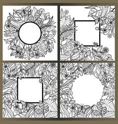 tropical flowers mock up set vector image