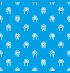 Tutankhamen mask pattern seamless blue vector