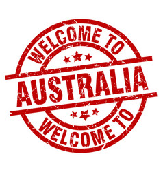 Welcome to australia red stamp vector