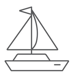 yacht thin line icon transport and ship boat vector image
