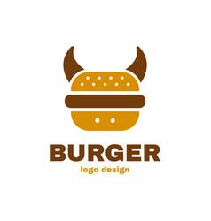 burger bull cow concept logo template vector image