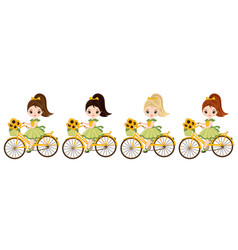 cute little girls riding bicycles vector image vector image