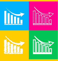 declining graph sign four styles of icon on four vector image vector image