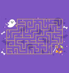kids halloween game childrens maze vector image