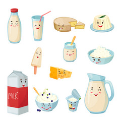 milk products with smiles cartoon set vector image vector image
