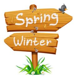 spring wooden arrow icon vector image vector image