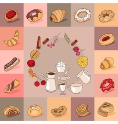 Template with different kinds of pastry Sweet vector image vector image