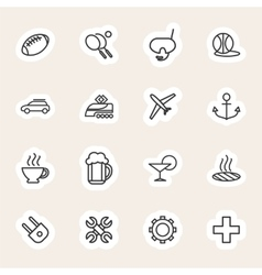 Travel and vacation line icons set vector image vector image