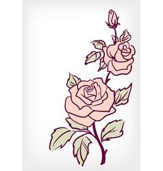 Pink rose flower vintage card vector