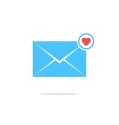 simple blue letter icon with red heart sign and vector image