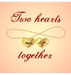 Card with opened golden medallion of two hearts vector image