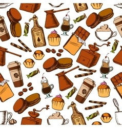 Coffee chocolate and pastries seamless pattern vector image vector image