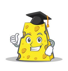 Graduation cheese character cartoon style vector