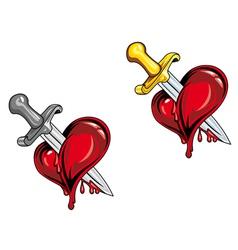 dagger in heart vector image vector image