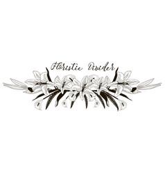 delicate floral text divider lily flower design vector image