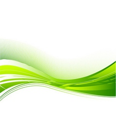 green wave background on white vector image