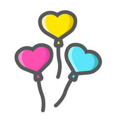 heart shaped balloons filled outline icon vector image